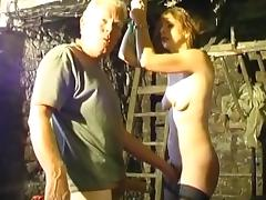Skinny chick is getting humiliated by an old man porn tube video