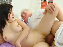 Old man fuck with a young cute brunette Alena porn tube video