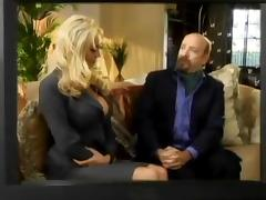 Mary Carey gives a handjob and gets rammed on a sofa