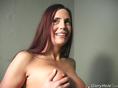 Cheyenne Hunter sucks and rubs a BBC and gets cum on her chin