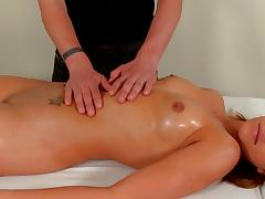 Massage, Blowjob, Brunette, Massage, Small Tits, Shaved Pussy