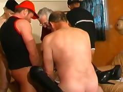 Hardcore ass-licking gangbang with brunette