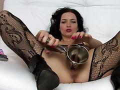 Solo scene with hardcore brunette tube porn video