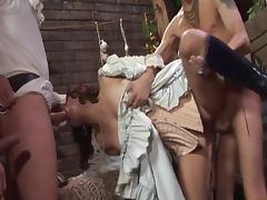 Sexy brunette is getting sperm after dp sex