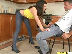 Delicious brunette with a fine ass gets him in the kitchen