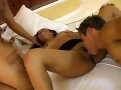 Brunette receives cunnilingus and two rods in her holes