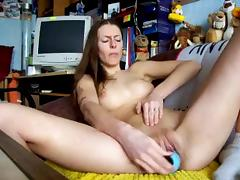 Masturbating with dildo