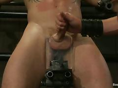 Device bondage and twitching for a kinky faggot