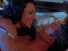 Exotica the curly MILF gets banged at night in a bedroom tube porn video