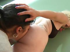 Blonde girl with nice ass sits on brunette girlfriend's face