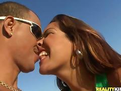 A playful Brazilian angel is moaning with a huge one