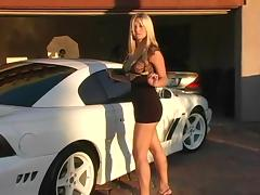 Car, Blonde, Car, Dress, Outdoor, Pussy