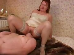 Aged Female-Dominant - FaceSitting, Chaps's Masturbation (+slow)