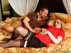 Horny milf in stockings is going to take over his penis