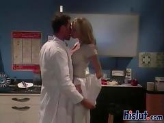 Buffed doctor fucks a filthy blonde whore
