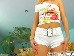 Stunning blond chick is eager to get a hardcore anal