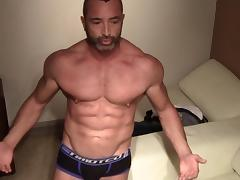 Solo masturbation and toy using by muscular gay boyfriend