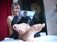 Very cute girl shows her soles