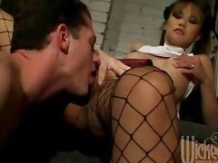 Horny Asian Chick In Fishnets Fucking And Swallowing Sperm