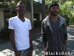 Skinny Chris Kingston gets fucked rough by two Blacks tube porn video
