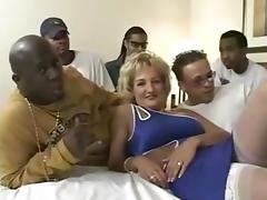 Mom, Banging, Blonde, Gangbang, Group, Interracial