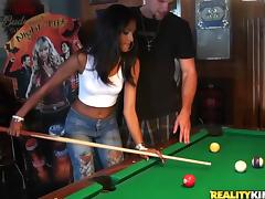 Superb Jasmine Rios plays pool and then gets fucked tube porn video