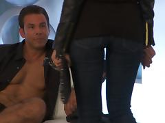 Steaming blond in leather suits wants to be fucked up tube porn video
