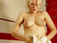 Gorgeous Golden-Haired Legal Age Teenager With Darksome Unshaved Wet Crack Showering, P2