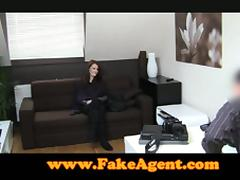 Sexy Skinny Brunette is so Cute! She Loves Sucking the Fake Agents Cock!