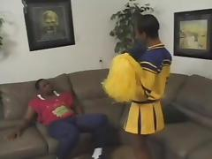 Ebony cheerleader is going for a huge black one