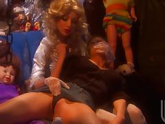 Two sexy blond babes are rubbing each other