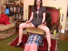 Dominant brunette punishes her slave tube porn video