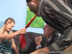 Adorable Sunset Diamond Gets Fucked By A Big Black Cock In Front Of Her Dad