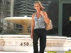 Blonde mom Chayanne sucks a prick and enjoys multiposition sex