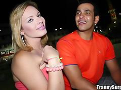 Mirela Abelha the pretty tranny gets banged in the ass