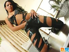 Playful Chloe poses in a leather outfit and rides a dick in POV video