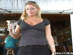 Blonde milf Chelsea sucks a cock after jumping on it crazily