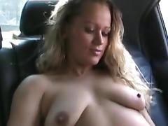 Stunning blonde is touching her puss