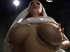 Busty bride fucks with hardcore babe in latex tube porn video