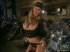 Biker, Big Tits, Biker, Blowjob, Cum in Mouth, Cumshot