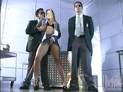 Hot office girl gets fucked by two security guys in suits