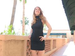 Stunning blond in black gets on the stairs and loves a cucumber