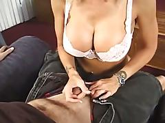 Busty blonde mom gives the best handjob ever to a horny dude