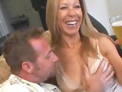 MILF blonde gives a very deep blowjob