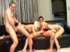 Unbelievable Blondes Go Hardcore In A Foursome With Two Guys