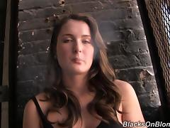 Busty Eden smokes a cigarette and fingers her juicy vagina
