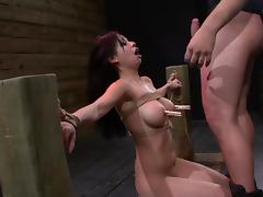 Tied Asian chick is giving a deep blowjob