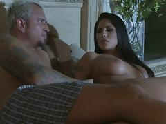 She Does Some Hot Ball Licking and Lets Him Cum in Her Mouth