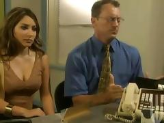 Stunning business lady gets banged on her office table