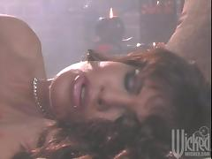 Filthy and busty brunette gets waxed all over